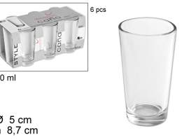 Set 6 vasos caña lisa 90ml