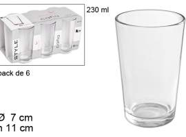 Set 6 vasos caña lisa 230ml