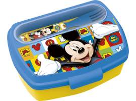 Sandwichera rectangular con cubiertos Mickey