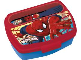 Sandwichera rectangular con cubiertos Spiderman