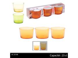 Set 3 vasos 23 cl colores