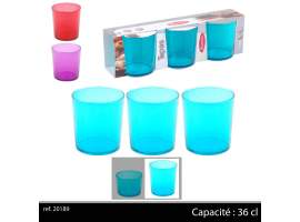 Set 3 vasos 36 cl colores
