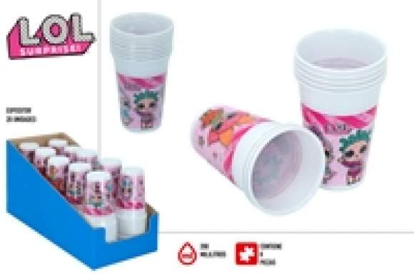 Pack 8 vasos plástico 200 ml LOL